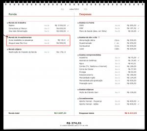 Orçamento pessoal: Renda de investimentos