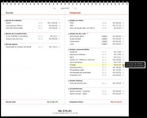 Orçamento pessoal com um item pago comajuste pendente